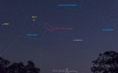 Paisaje con el cometa C/2013 R1 Lovejoy. Fotografía anotada