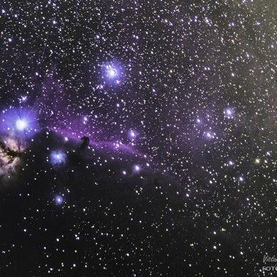 Nebulosa de la Flama y Nebulosa de la Cabeza de Caballo en la constelación de Orión