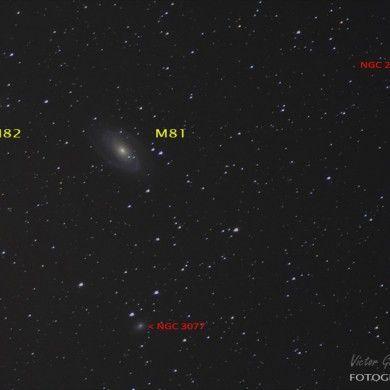 Galaxias M81 y M82 con la supernova SN2014J
