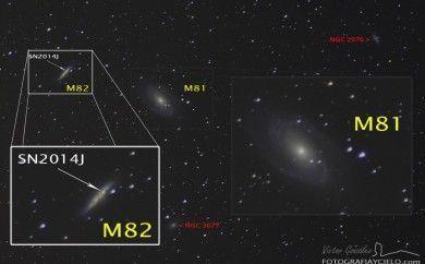 Lupa de las galaxias M81 y M82 con la supernova SN2014J