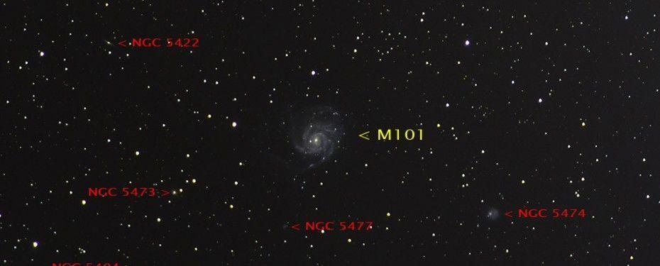 M101 Galaxia del Molinete, con anotaciones