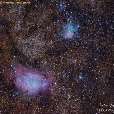 Nebulosas de la Laguna (M8) y Trífida (M20)