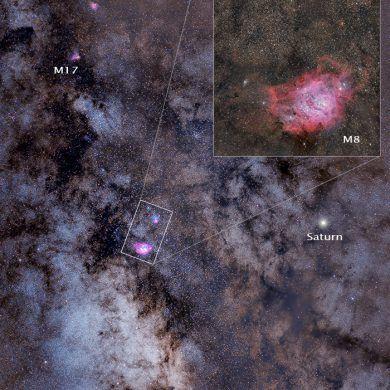 Lagoon and Trifid Nebula, M8 and M20 zoomed